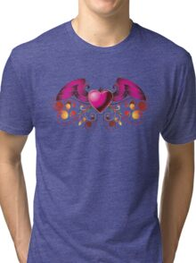 Pink heart with wings Tri-blend T-Shirt