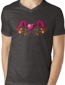 Pink heart with wings Mens V-Neck T-Shirt