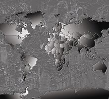 World Map silver by BekimART