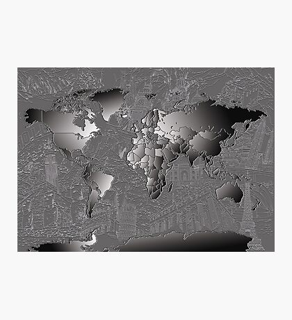 World Map silver Photographic Print
