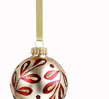 Elegant Gold Christmas Ornament on White by caqphotography