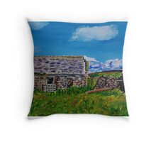 """""""Ruined Cottage and Farm Buildings on Longmore Road, Broughshane, County Antrim"""" Throw Pillow"""