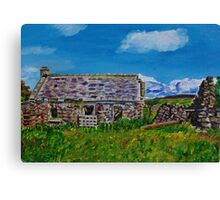 """Ruined Cottage and Farm Buildings on Longmore Road, Broughshane, County Antrim"" Canvas Print"