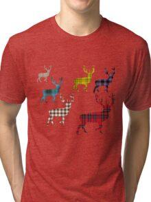 Tartan Stag T-Shirt Tri-blend T-Shirt