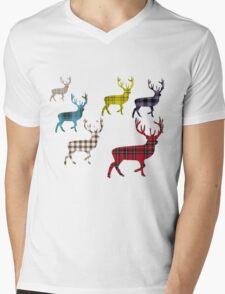 Tartan Stag T-Shirt Mens V-Neck T-Shirt
