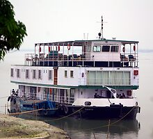 The RV Sukapha on the Brahmaputra River, Assam, India. by John Mitchell