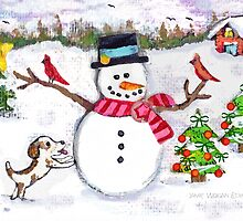 Christmas Snowman With Dog and Cardinals by Jamie Wogan Edwards