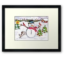 Christmas Snowman With Dog and Cardinals Framed Print