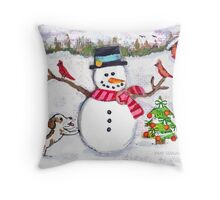 Christmas Snowman With Dog and Cardinals Throw Pillow