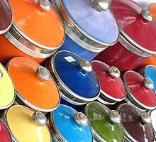 Colourful lidded pots by ivanpackerphoto