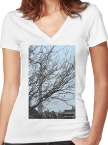 Of trees, towers and workers strong Women's Fitted V-Neck T-Shirt