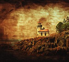 Lime Kiln Lighthouse - Antiqued by Rich Summers