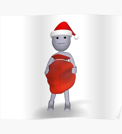 3d character with Christmas gifts Poster