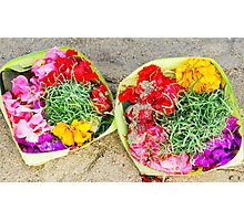 Flower offerings on the beach Photographic Print