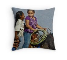 Giggly girls on a horse Throw Pillow