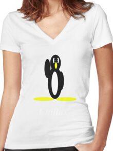 Penguin Chillax Women's Fitted V-Neck T-Shirt