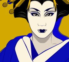 Oiran In Blue And Yellow. Sticker