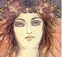 MYSTIC EYES - BEAUTIFUL ART NOUVEAU WOMAN with Flowers in the Hair by RubaiDesign
