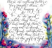 Scripture Ecclesiastes verse calligraphy art by Melissa Goza