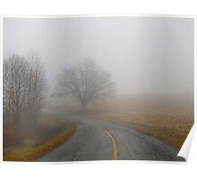 Fog On Country Road Poster