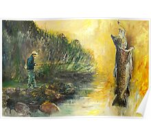 The Fly Fisher at Task - River Fishing Poster
