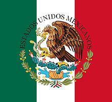 Flag of Mexico (augmented scale) with Coat of Arms (overlaid) by Bruiserstang