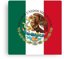 Flag of Mexico (augmented scale) with Coat of Arms (overlaid) Canvas Print
