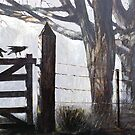 Crows on Gate at Rowella, Tamar Valley, Tasmania by Pieter  Zaadstra