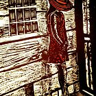 French Girl -  Woodcut Print by Belinda &quot;BillyLee&quot; NYE (Printmaker)