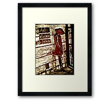French Girl -  Woodcut Print Framed Print