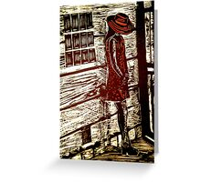 French Girl -  Woodcut Print Greeting Card