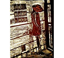 French Girl -  Woodcut Print Photographic Print