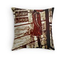 French Girl -  Woodcut Print Throw Pillow