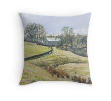 Glistening farmtrack, Hathersage Throw Pillow
