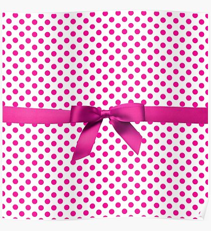Pink Polkadot Ribbon Poster