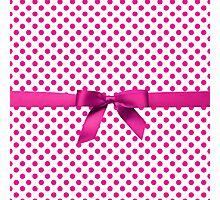 Pink Polkadot Ribbon Photographic Print