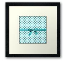 Blue Tiffany Polkadot Ribbon Framed Print