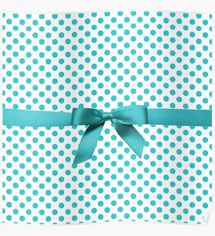 Blue Tiffany Polkadot Ribbon Poster