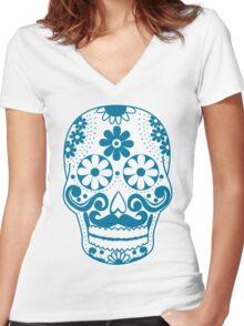 Blue Mustached Sugar Skull Women's Fitted V-Neck T-Shirt
