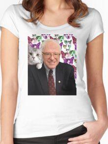 Subtle Bernie Sanders Print Women's Fitted Scoop T-Shirt