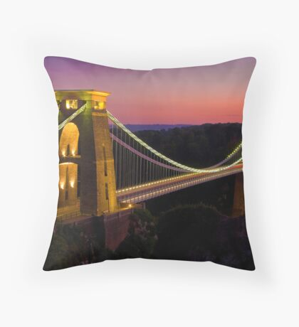 Clifton Bridge At Dusk Throw Pillow