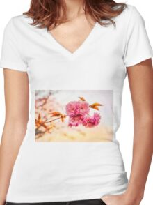 """""""Spring Blossoms"""" Women's Fitted V-Neck T-Shirt"""
