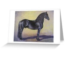 """Mink""   Friesian Stallion Greeting Card"
