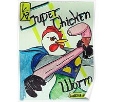Super Chicken vs Worm Poster