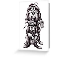 Clowns black and white pen ink drawing Greeting Card