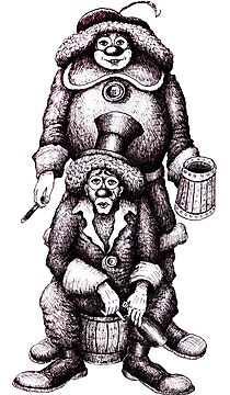 Clowns black and white pen ink drawing by Vitaliy Gonikman