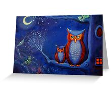 The Forest At Night - Owl Art  Greeting Card