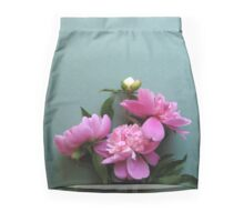 pink peony blooms on green background Mini Skirt