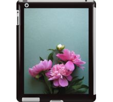 pink peony blooms on green background iPad Case/Skin