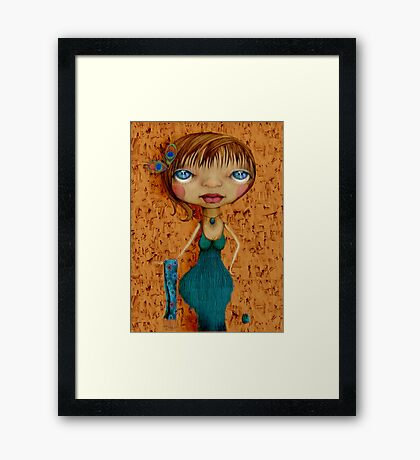 ...she wore peacock feathers in her hair Framed Print